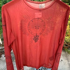 NWT SHEER LONG SLEEVE SNAKE EYE DESIGN TOP